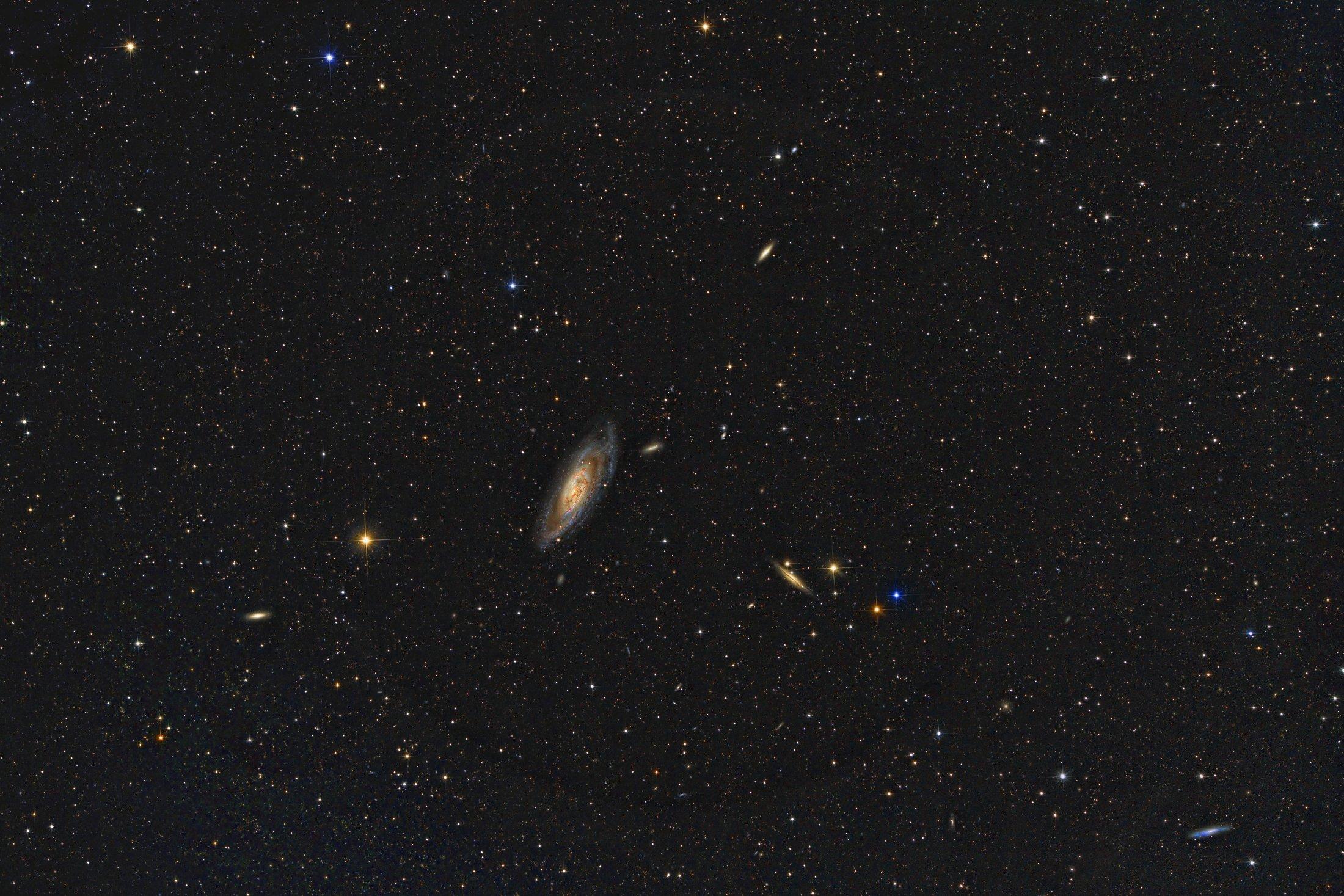 M106 intermediate spiral galaxy in constellation Canes Venatici